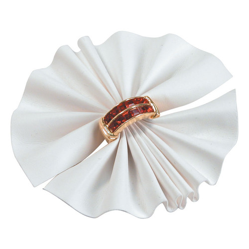 White Faux Leather Ring Fan Display 1=10pcs.