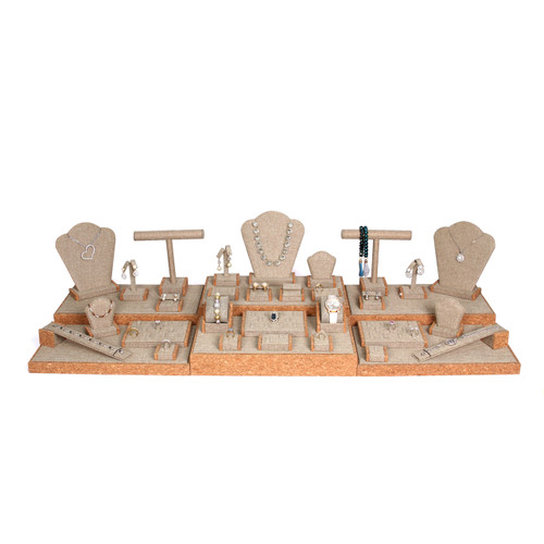 "Display set (burlap,cork trim),35pcs, 44.25x16.5x10.75""H"