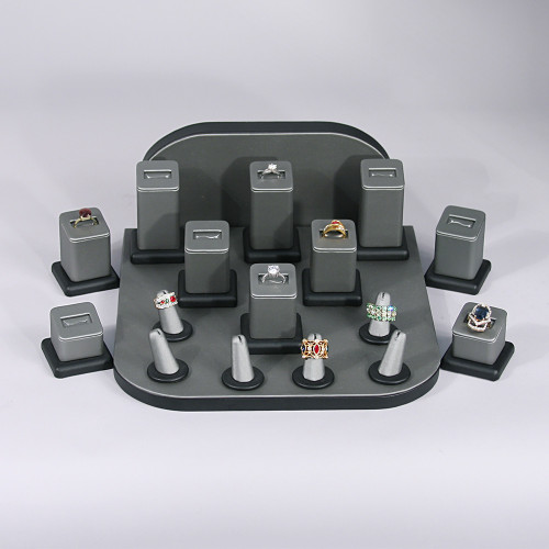 "Display set (steel gray,black trim),18pcs,11x11x5""H"