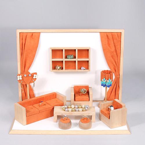 """Display set (orange suede,wood trim),10pcs,16.5x10.25x12""""H"""