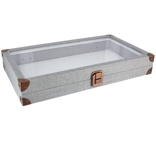 "Antique look case w/ glass top -linen,14.75x8.25x2.1""H,14.75"" x 8.25"" x 1.5""H, (Choose from various Color)"