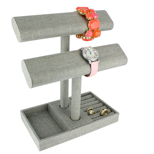 "2 tier jewelry bar w/ ring holder tray -grey linen,9 1/4"" x 5 3/8"" x 10 3/4""H"