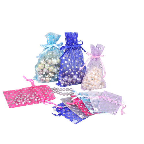 Polka Dot Organza Drawstring Pouch (Choose from various sizes), Price for 12 pieces