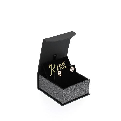 "Metalic Mesh Grey Magnetic Earring/Pendant Box,2 3/4"" x 3 1/4"" x 1 3/8""H"