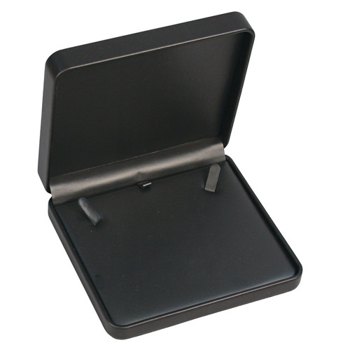 "Round Corner Necklace Box  6 1/8"" x 5 1/2"" x 1 3/8"",Black"