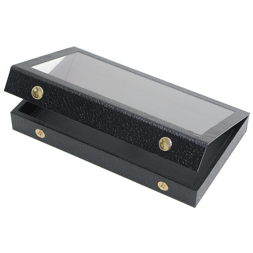 Leatherette Case , Black, Acrylic Attached Lid ,(Choose from various Size)