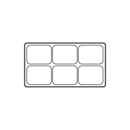 """6-compartment Durable plastic tray Insert, 14 1/8""""x 7 5/8""""x 1 3/8""""H,(Choose from various Color)"""