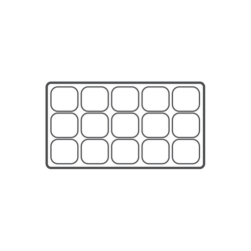 """15-compartment Durable plastic tray Insert, 14 1/8""""x 7 5/8""""x 1 3/8""""H,(Choose from various Color)"""