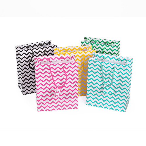 Glossy Chevron Tote Gift Bags,Assorted 5 Color ,(Choose from various sizes),Price for 100 pieces