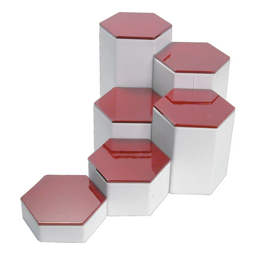 "6-Pieces Hexagon Set, 4"" Diag., 1 1/4""~6 1/4""H, Rosewood Top"