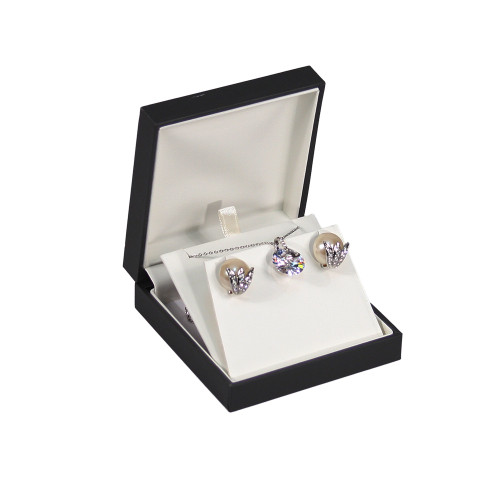 "Elegant Sleeve Pendant/Earring Box , 3 5/8"" x 3 5/8"" x 1 1/4""H ,  Choose from various Color"