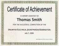 Certificate of Achievement (NOT AUTHORIZED FOR PURCHASE UNTIL EXAM IS PASSED)