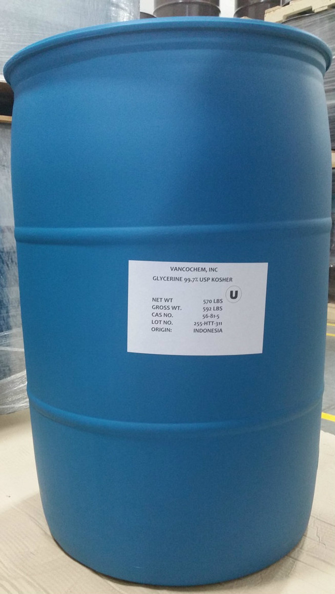 99.7% USP Kosher NonGMO Palm Glycerin ($0.75/lb 55 gallons 570# net in POLY drum) ISO cGMP