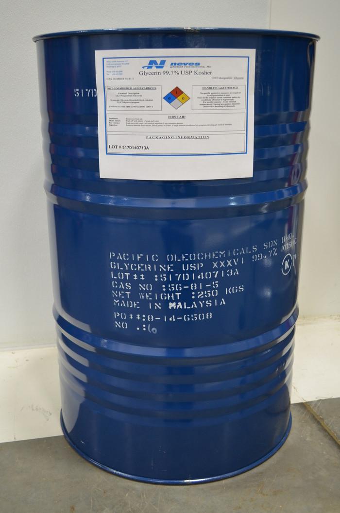 99.7% USP Kosher NonGMO Palm Glycerin ($0.75/lb 55 gallons 551# net in STEEL drum) ISO cGMP