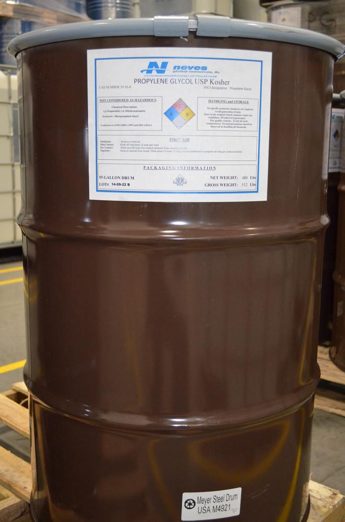 USP Kosher Propylene Glycol (55 gallon STEEL drum 480# net)