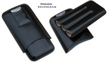 Three Cigar Holder + Cutter - Black