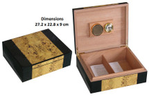 High Gloss Veneer Humidor - Black & Gold