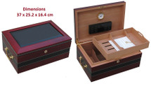 Desktop Humidor with PVC Leather Trim