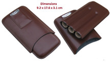 Three Cigar Holder + Cutter - Brown