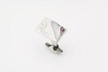 Sarome Purple with Crystal glass cufflinks