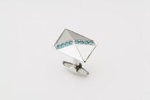 Sarome Metal with Blue Crystal Cufflinks