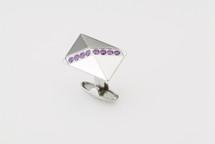 Sarome Metal with Purple Crystal Cufflinks
