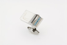 Sarome Nightrider Metal & Blue Crystal Cufflinks
