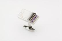 Sarome Nightrider Metal & Purple Crystal Cufflinks