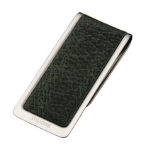 Sarome Money Clip - Silver/Green Pig Hide