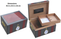 Desktop Humidor - Burgundy and Carbon Fibre design