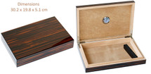 Slim Cigar Humidor - High Gloss Brown