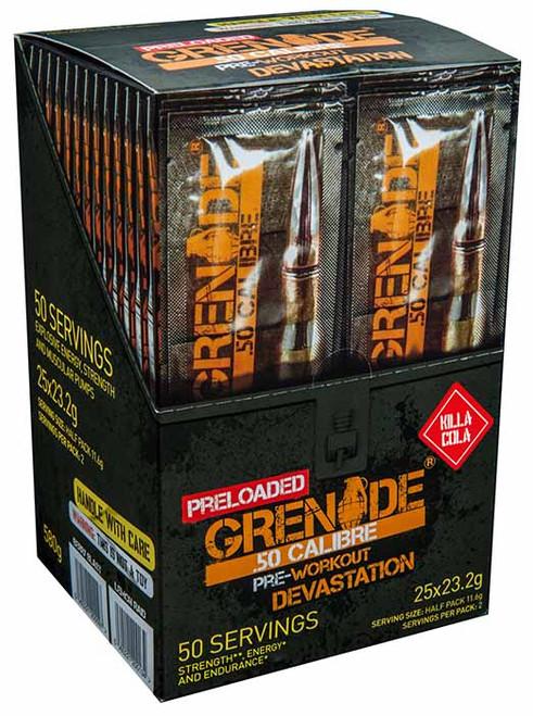 Grenade .50 CALIBRE PRELOADED Pre Workout x 25 Sachet Sticks 23.2 G