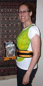 Sharon fitting Birdie Pouch as a fanny pack