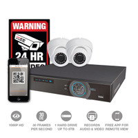 4Ch DVR Kit w/two 1080P HD Over Coax  Cameras
