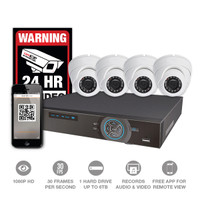 8Ch DVR Kit w/four 1080P HD Over Coax  Cameras
