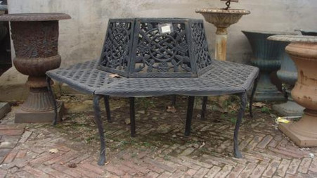 CAST IRON TREE BENCH AVAILABLE IN CUSTOM COLORS, 71 INCHES WIDE