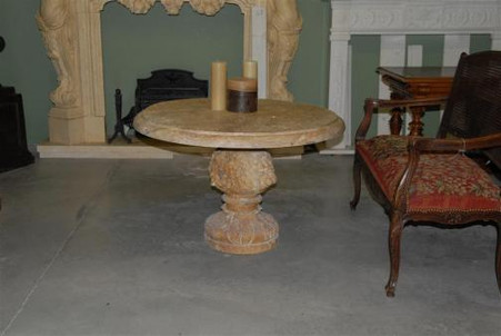 """TRAVERTINE MARBLE COFFEE OR WINE TABLE, 39"""" WIDE, LION CARVINGS"""