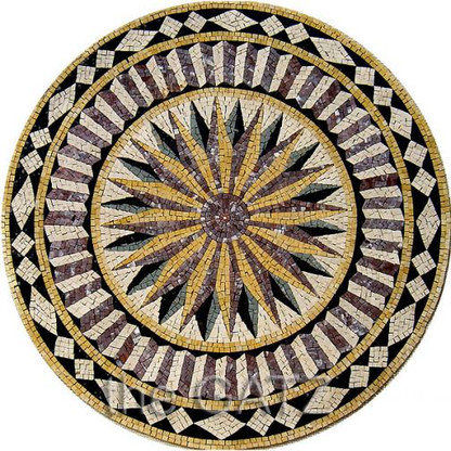 """BEAUTIFUL STAR BURST MARBLE MOSAIC TILE, RELIEF OR TABLE TOP, ROUND 40"""" WIDE"""