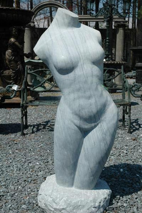 "HAND CARVED MARBLE STATUE OF NUDE TORSO, 46"" TALL"