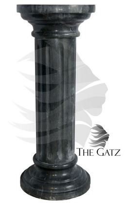 "ROUND TOP MARBLE PEDESTAL, FLUTED SHAFT, BLACK MARBLE 31.5"" TALL"