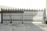 Beautiful Victorian style cast iron fence sections. Solid and heavy. Frames are tubular metal top decorative pieces  as well as the center detail are solid cast iron. Each 2 section come with metail decorative cap as shown. Posts as shown are available if needed at an additional cost. These are newly constructed and in very good condition. If you are planning a project installation it is not difficult with these panels in that each panel bolts together. We have sold hundreds of these panels over the years that have been used in customer projects. We have also assisted our customers with their designs and component pieces such as posts. One of the projects is shown. We can custom built fencing and gates for your special needs. Quantity discounts are apply. Please call with your questions we will be glad to assist you. We currently have 35 sections in stock. Ask about our in store Layaway plan. Measure: 80 5/8 wide x 59 high
