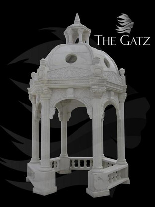 LARGE CUSTOM DESIGNED MARBLE GARDEN GAZEBO, DOMED WITH RAILINGS AND 6 FLUTED COLUMNS