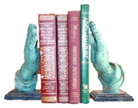 Pair of Bronze Bookends of Hands Praying with Marble Base, Religious