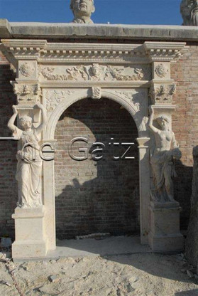TALL MARBLE ARCH OR DOOR ENTRY IN TRAVERTINE, FEMALE CARVINGS 9.5FT TALL