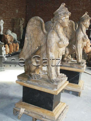 PAIR OF CARVED MARBLE SPHINX WITH WINGS ON PEDESTALS, NICE ENTRY STATUES VERY STATELY Measure: Spinx 45 tall x 27 deep x20 wide: Base18 tall x 19 wide x 27 deep