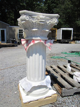 """CORINTHIAN MARBLE PEDESTAL WITH TRADITIONAL FLUTED SHAFT, 33.5"""" TALL"""