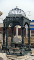 """LARGE GREEN MARBLE GARDEN GAZEBO WITH METAL DOMED TOP AND BENCH SEATING. 187"""" TALL"""
