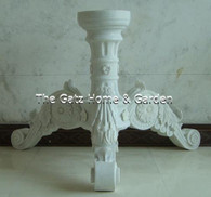 HAND CARVED WHITE MARBLE PEDESTAL STYLE TABLE BASE