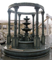 ELEGANT GARDEN MARBLE GAZEBO WITH IRON TOP, 10FT TALL