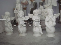 "Set of Four White Marble Angel Cherubs Sitting on Ball, 30"" Tall,  Religious"
